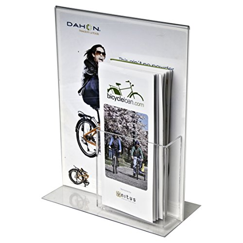 Clear-Ad - LHCP-8511 - Double Sided Acrylic Upright Sign Holder with Trifold Brochure Pocket - Table Menu Card Display Stand - Plastic Picture Frame 8.5x11 (Pack of 4) (Signed Large Photo)