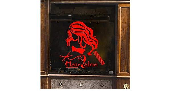 Ajcwhml Dama Corte y diseño Pegatinas de Pared decoración Vinilo Wallpaper Roll Muebles para peluquería calcomanías de Vinilo calcomanías de Arte CM 78x74cm: Amazon.es: Hogar