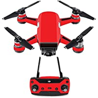 Skin for DJI Spark Mini Drone Combo - Solid Red| MightySkins Protective, Durable, and Unique Vinyl Decal wrap cover | Easy To Apply, Remove, and Change Styles | Made in the USA