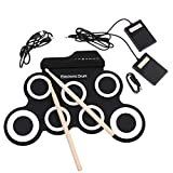 ETbotu Portable Electronic Drum Digital USB 7 Pads Roll up Drum Set Silicone Electric Drum Pad Kit with Drumsticks Foot Pedal Black