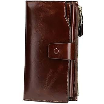 Itslife Women's RFID Blocking Large Capacity Luxury Wax Genuine Leather Cluth Wallet Ladies Card holder (Coffee RFID Blocking)
