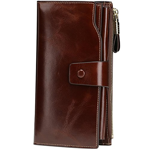 Itslife-Womens-RFID-Blocking-Large-Capacity-Luxury-Wax-Genuine-Leather-Clutch-Wallet-Card-Holder-Organizer-Ladies-Purse