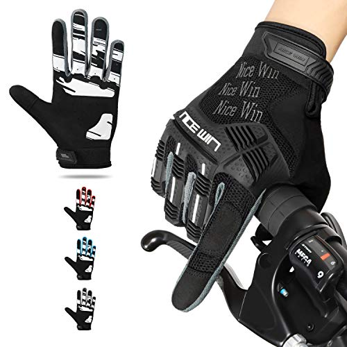 NICEWIN Cycling Gloves for Men Full Finger with Knuckles Protection Gel Pad