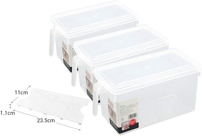 WUQ JL BC Caja De Almacenamiento De Plástico para Frutas Y Verduras, Caja De Almacenamiento De Plástico para Frutas Y Verduras (3 Paquetes) A++ (Size : Three-Piece+partition): Amazon.es: Hogar