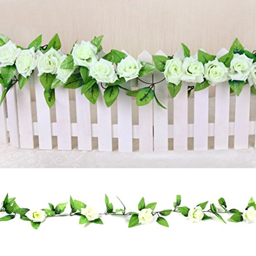 1 X 8 Ft Simulation Plastic Flowers Artificial Flowers Roses Silk Flower Vine For Air Conditioning Ducts Wedding Arch Decoration Party Ivy Vine Leaf Garlands Romantic Art Decor-Hongxin (White) ()