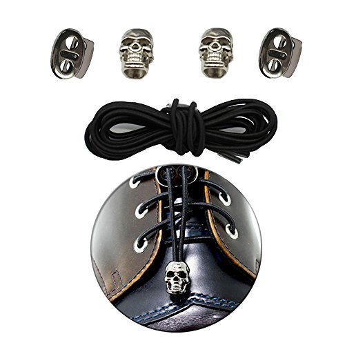 Black Skulls Shoelaces - No Tie Shoelaces Lock System- Elastic Shoe Laces for Kids and Adults, Sport fans-NEW STYLE (Black+Skull head)