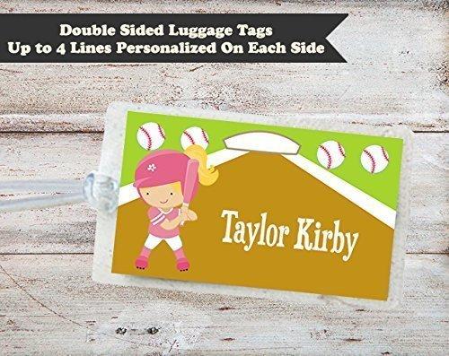 116722115138 Amazon.com: Baseball Softball Personalized Laminated ID Luggage Bag ...