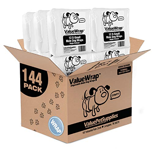 ValueWrap Disposable Male Dog Diapers, 1-Tab, 144 Count – Male Wraps, Snag-Free Fastener, Leak Protection, Wetness…