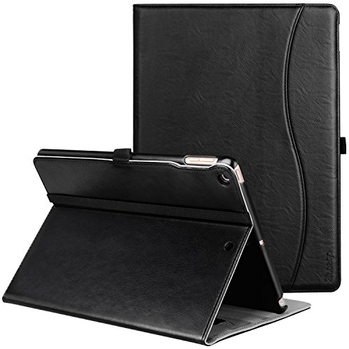 New IPad 9.7 Inch 2017 Case, Ztotop Premium Leather Business Slim Folding Stand Folio Cover for New Apple Tablet with Auto Wake / Sleep and Document Card Slots, Multiple Viewing Angles,ALL Black (Premium Leather Case Cover)