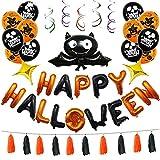 Cozylkx Halloween Party Decorations Kit Happy Halloween Balloons Halloween Party Supplies,Orange and Black