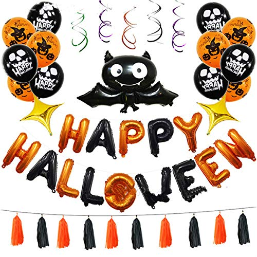 45 Pack Happy Halloween Balloon Set Foil Letter Balloons Star Bat Pumpkin Latex Balloon Hanging Swirl Ceiling Home Decorations Party Favors Supplies