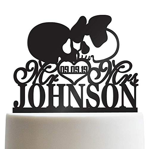 Mr Mrs Skull Personalized Wedding Cake Topper Customized Last Name Halloween Wedding | Solid Color Cake Toppers -