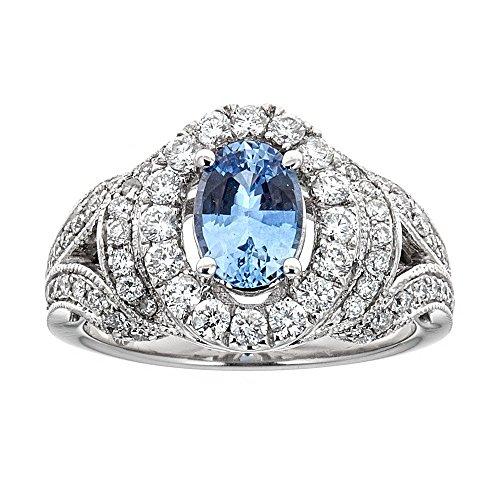 (Ceylon Sapphire & Diamond 14K White Gold Ring)