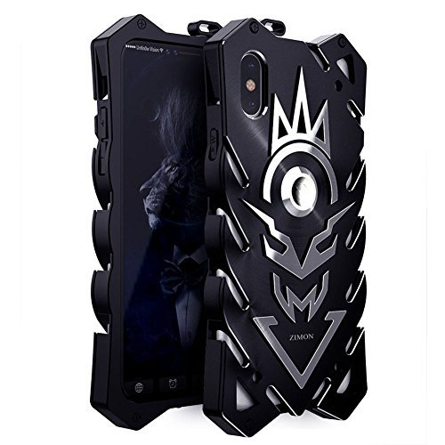 ZIMON iphone X case Mechanical arm Magnesium alloy material Equipped with a soft TPU lining material lightweight and durable suing CNC technology to create for iphone X (BLACK+SILVER)