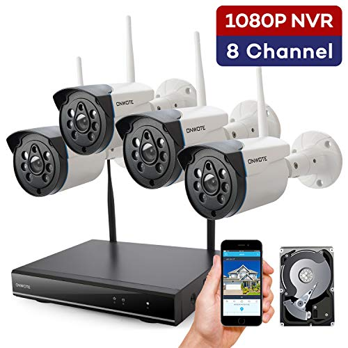 【Expandable 8CH】 ONWOTE Wireless Security Camera System with 1TB Hard Drive, 8 Channel 1080P NVR, 4 Outdoor 960P 80ft Night Vision WiFi Surveillance Cameras, IP66 Weatherproof, Add 4 More Cameras (Best Lightweight Internet Security)
