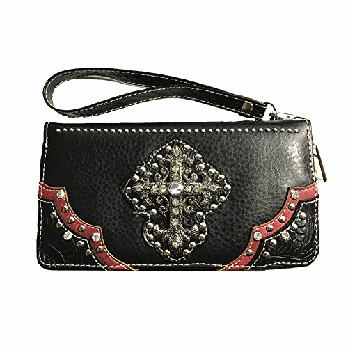 Wallet Carry Style in 3 Matching Handbag Black Flowers with Colors Concealed Rhinestone Cross qI8BA