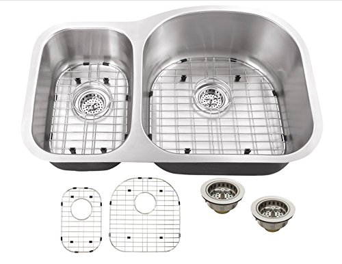 MS3070P 18-Gauge 32-in x 20 3/4-in x 9-in Stainless Steel 30/70 Offset Double Bowl Kitchen Sink with Grid Set and Strainers by Magnus Sinks (Image #5)