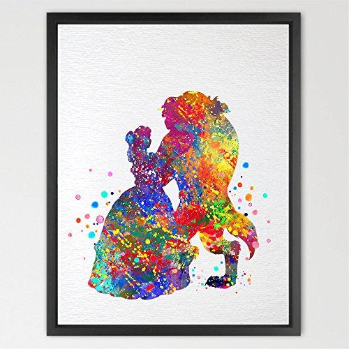 Dignovel Studios 8 X 10 Beauty and the Beast Belle Disney Princess Inspired Watercolor Art Print Wall Art