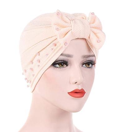 f2c0308b8 Amazon.com: SUKEQ Women Removable Bow Beads Ruffle Chemo Turban ...