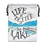 CMTRFJ Personalized Drawstring Bag-Life is Better at The Lake Holiday/Party/Christmas Tote Bag