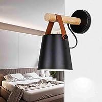 Vintage LED Lámpara de Pared Metal Madera E27 Creativo Moderno Dormitorio Corredor Sala de Estar Hotel Cafetería Loft Aplique de Pared Hierro, Negro