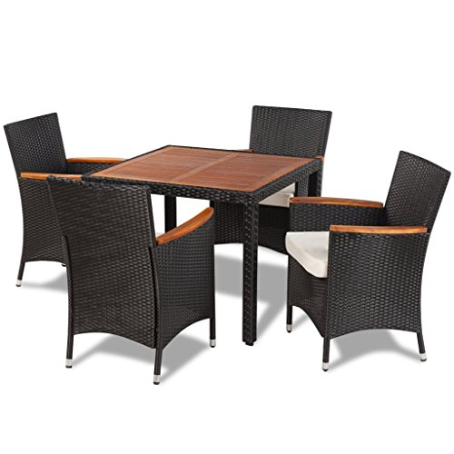 Vidaxl patio dining set rattan wicker with acacia wood for Table exterieur design jardin