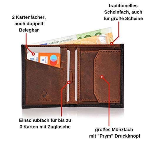 c24ba5044ccd20 Donbolso Leder Geldbörse Rom - Geldbeutel klein mit RFID Schutz - Mini  Portem... | eBay