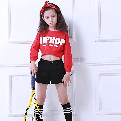 HJPRT children's girls jazz modern dance costumes girls sweater shorts suit cheerleading hip-hop clothing (hiphop long-sleeved black pants suit by HJPRT