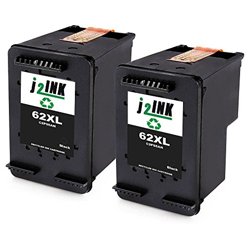 J2INK 2 Black Remanufactured Ink Cartridge for HP 62XL C2P05AN High Yield