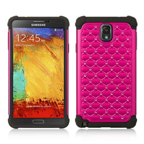 Hot Pink Hybrid Rhinestone Samsung Galaxy note 3 III N9000 Case Cover Hard Phone Case Snap-on Cover Rubberized