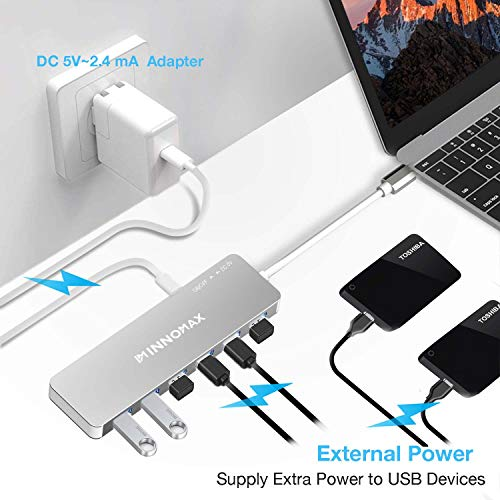 INNOMAX 10-in-1 Powered USB C HUB Adapter with 4K HDMI, 6 USB 3.0 Ports,Card Readers,External Power for 2018/2017/2016 New MacBook Pro and Windows Powered PC with Type-C-Silver by INNOMAX (Image #4)