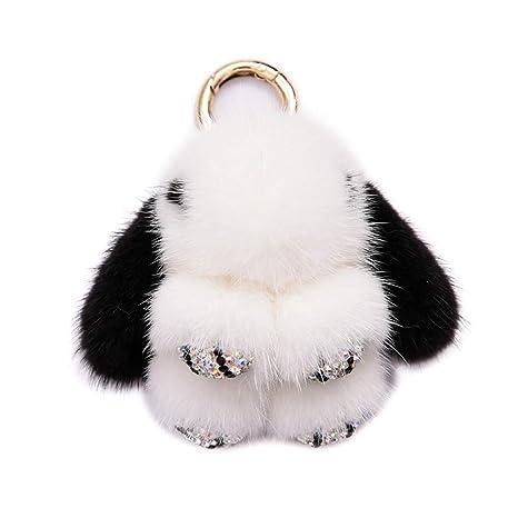 Llavero de coche con colgante de conejo de peluche: Amazon ...