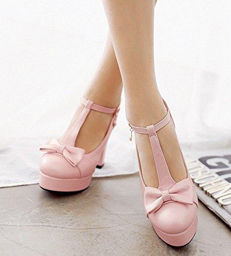 Mee Shoes Damen süß Schleife Plateau chunky heels T-Strap Pumps Pink