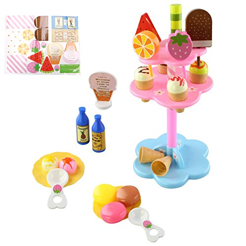 African Play Foods (SCASTOE Food Pretend Toy Kids Play Set Sweet Treats Ice Cream and Dessert Tower Colorful)