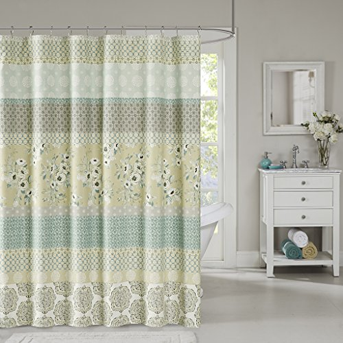 - Madison Park Willa Stripe Floral Cotton Polyester Fabric Shower Curtain, Cottage Print Shower Curtains for Bathroom, 72 X 72, Green