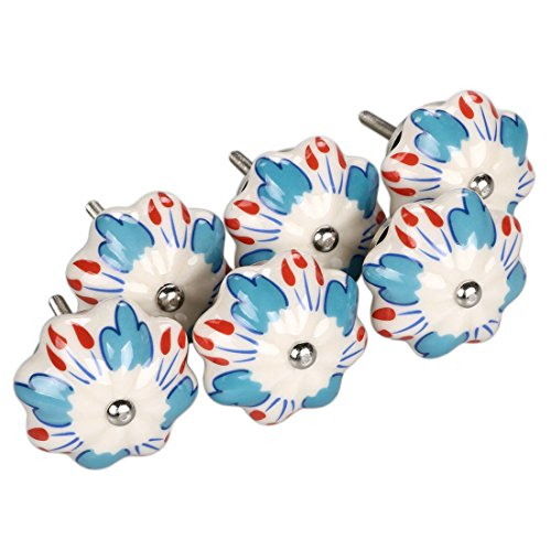 uxcell 6 Pieces Vintage Shabby Knobs Blue and White Floral Hand Painted Ceramic Pumpkin Cupboard Wardrobe Cabinet Drawer Door Handles Pulls Knob, Chilli