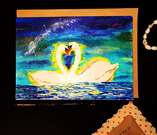 Valentine Cards, Loving Swan couples, Self design, All painted by hands, Acrylic Original Art on Light-Yellow Hard paper, None is the same, Size: 21 cm x 15 cm (A5) - -