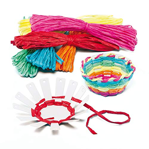 Baker Ross Card Basket Weaving Kits 6 Colors of Raffia | Finished Size 3.9 inches (10cm) | Kid's Craft Activities Great for Mother's Day & Easter (Pack of 4)]()