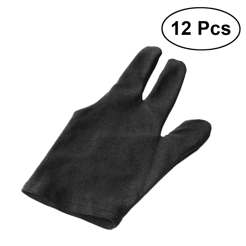 VORCOOL 12pcs Billiards Pool Snooker Cue Shooters Gloves Elastic Lycra Pool Snooker 3 Fingers Gloves (Black)
