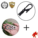 Meanhoo Carbon steel para-biner carabiner Pulley System Carabiner for survival Tools & Stainless Steel Tactical Multi-functional Pocket Key Ring Keychain