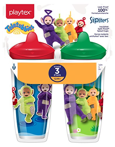 Playtex Sipsters Stage 3 Teletubbies Spill-Proof, Leak-Proof, Break-Proof Insulated Toddler Spout Sippy Cup, Unisex - 9 Ounce - 2 Count