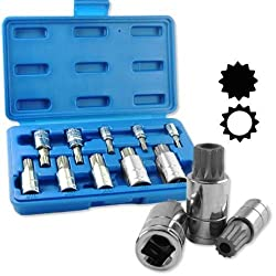 10pc Xzn 12 Point Mm Triple Square Spline Bit Socket Set Tamper Proof New Case