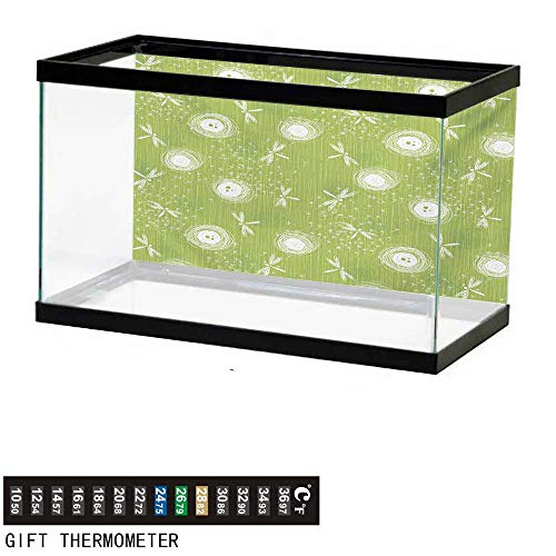 (wwwhsl Aquarium Background,Dragonfly,Sketch Style Dandelion Flower Petals Spring Beauty Nature Blossom Image,Lime Green Cream Fish Tank Backdrop 36