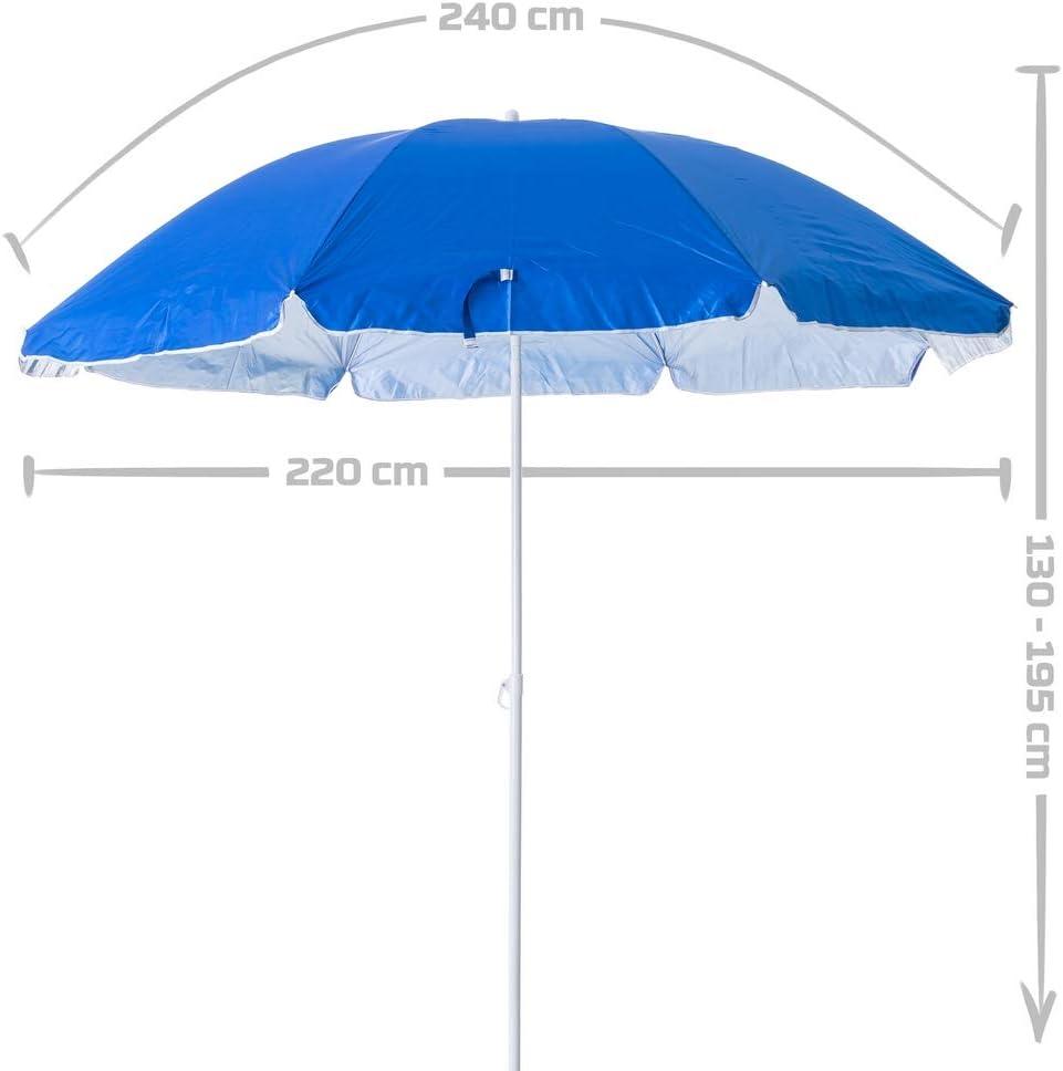Ombrellone da spiaggia pieghevole Lola Home 220 cm colore blu Garden in Nylon