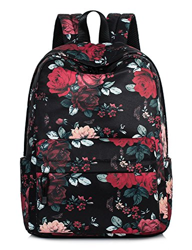 Vintage Floral School Bookbags for Girls, Large College Laptop Bags Women Daypack by Leaper (Floral-Red)