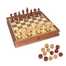 WE Games Russian Style Chess & Checkers Game Set - Weighted Chessmen & Wood Board with Storage Drawers 15 in.