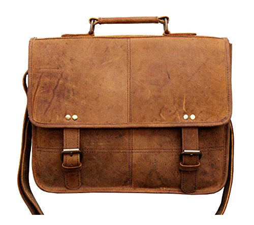 Handcrafted exports Buffalo Leather Rustic Vintage Messenger Shoulder Bag. by Handcrafted exports
