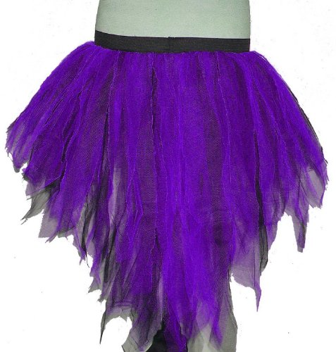 (Purple Black 7 Layers Trashy Tutu Skirt Peacock Bustle Halloween Non Uv Neon Punk Rave Gothic Goth Dance Fancy Costume Dress Party Halloween Christmas Free Shipping)