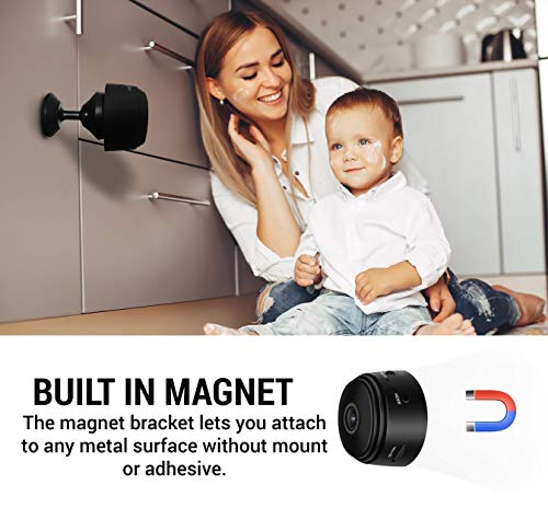 Semsor EyeCam Mini Spy Cloud Magnetic Camera, Easy Set Up, WiFi, P2P, 1080p Resolution, Motion Detection, 150 Degree Wide Angle. for Home, Baby's Room, Pets, Surveillance