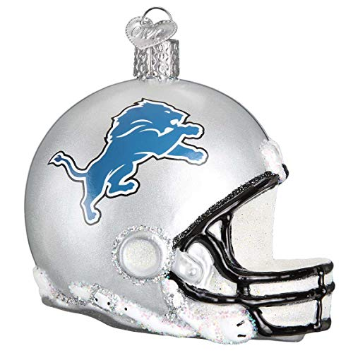 Personalized Detroit Lions Helmet Glass Blown Christmas Ornament for Tree by Old World Christmas ()